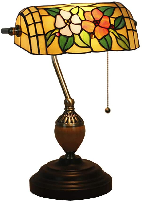 Vintage Traditional Banker lamp, Antique Tiffany Style Table lamp