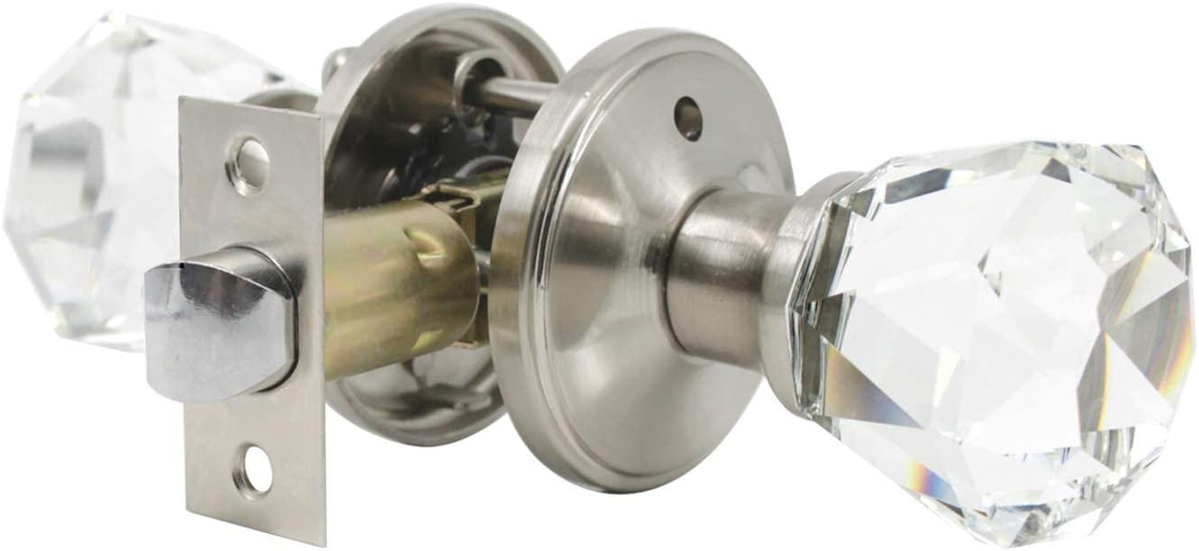 Antique glass door knob with lock